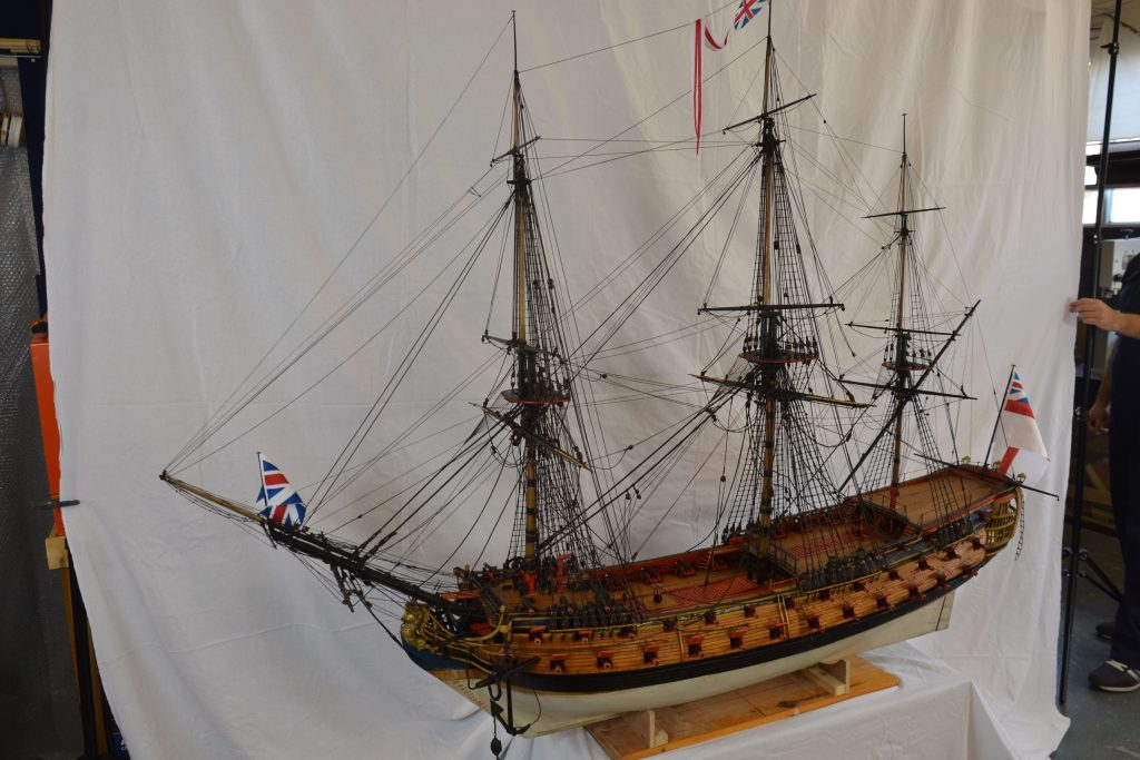 HMS Albion, fully restored ship model, wooden ship.